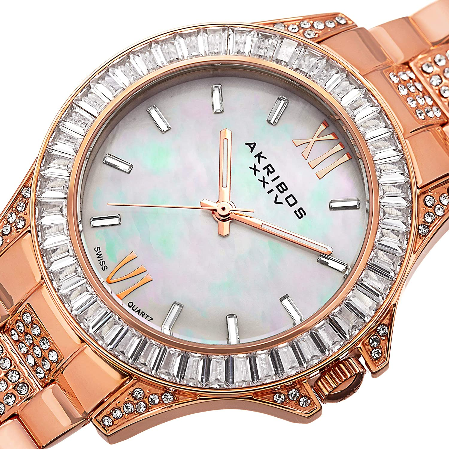 Akribos XXIV Women's 'Impeccable' Swiss Quartz Watch - Mother-of-Pearl Dial Large Baguette Crystals Bezel On Stainless Steel Bracelet - AK670 Rose Gold