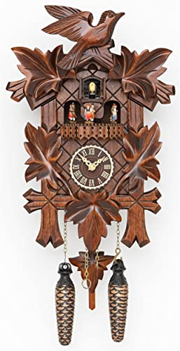 Trenkle Quartz Cuckoo Clock 5 Leaves, Bird, with Music TU 376 QMT