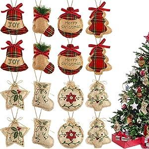 16 Pieces Christmas Tree Stocking Ornaments Xmas Hanging Decoration Stockings Burlap Christmas Ornaments for Xmas Hanging Ornaments Decorations (Color Set 1)