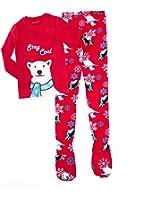 Big Feet PJs 2 Piece Red Footed Pajamas Stay Cool Polar Bear Winter Theme