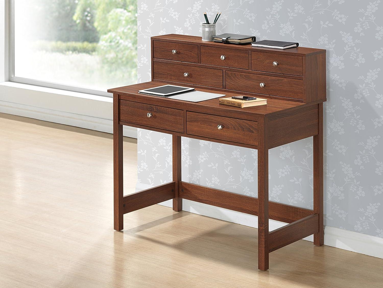 Amazon.com: TECHNI MOBILI Elegant Writing Desk With Storage And Hutch   Oak:  Office Products