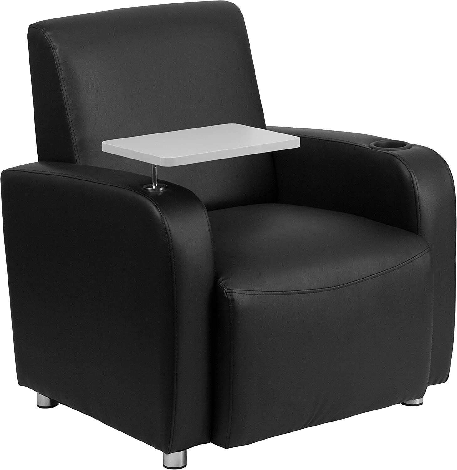 Flash Furniture Black Leather Guest Chair with Tablet Arm, Chrome Legs and Cup Holder