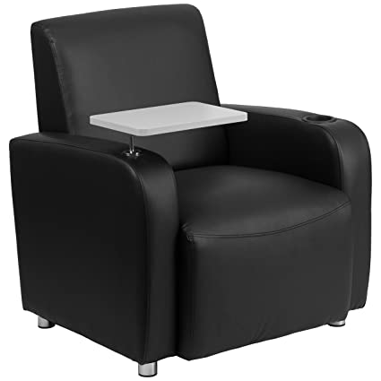 Charmant Flash Furniture Black Leather Guest Chair With Tablet Arm, Chrome Legs And  Cup Holder