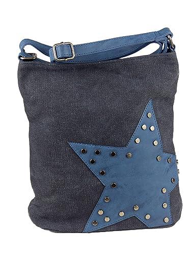 e85a88f8df1b2 yourlifeyourstyle Canvas Tasche aufgenähter Stern mit Nieten - Damen  Mädchen Teenager Umhängetasche - Maße ohne Schulterriemen 27 x 30 cm  (blau)  Amazon.de  ...