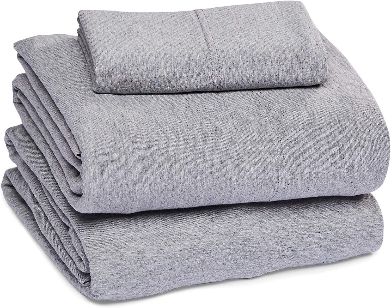 Twin White Basics Cotton Jersey Bed Sheet Set