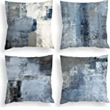 COLORPAPA Blue Throw Pillow Covers 18x18 Set of 4 Decorative Cushion Cover Grey Abstract Art Painting Pillowcase for Sofa Bed