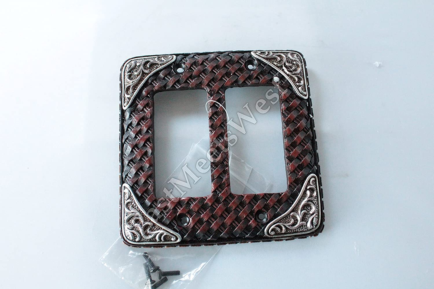Western Cowboy Rustic Woven Leather Look Silver Accents Switch Plate Covers Electric Western Decor (Double Rocker)