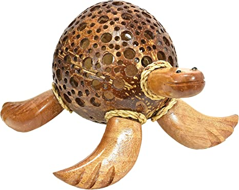 Adorable Sea Turtle Hand Carved Coconut Shell Figurine Sculpture Amazon Co Uk Kitchen Home