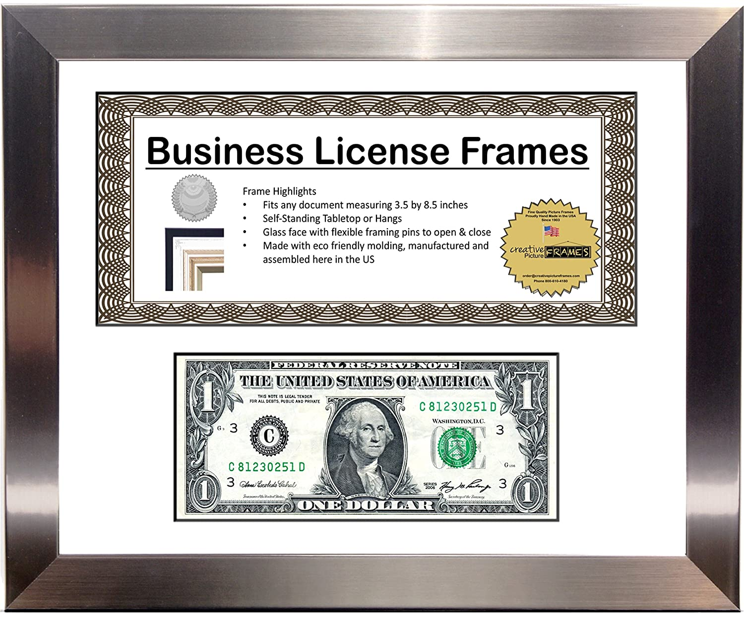 Amazon creativepf l85x11ss w stainless steel first dollar amazon creativepf l85x11ss w stainless steel first dollar frame with business license mat holds 1st dollar and one 35x875 license including self jeuxipadfo Image collections