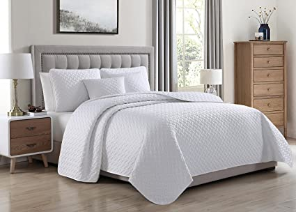 Amazon Francesco 5pc Coverlet Bed Cover Set White Quilted