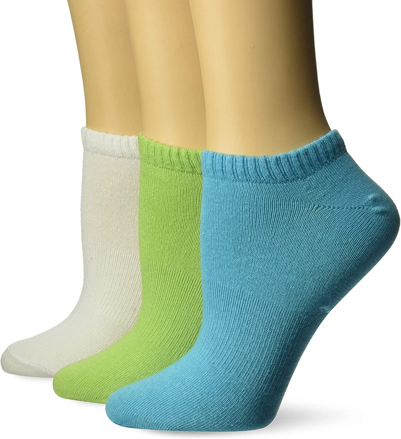 Fruit of the Loom Women's Made in USA 3-Pack Flat Knit Low Cut Sock, Apple/White/Turquoise, Shoe Size: 4-10