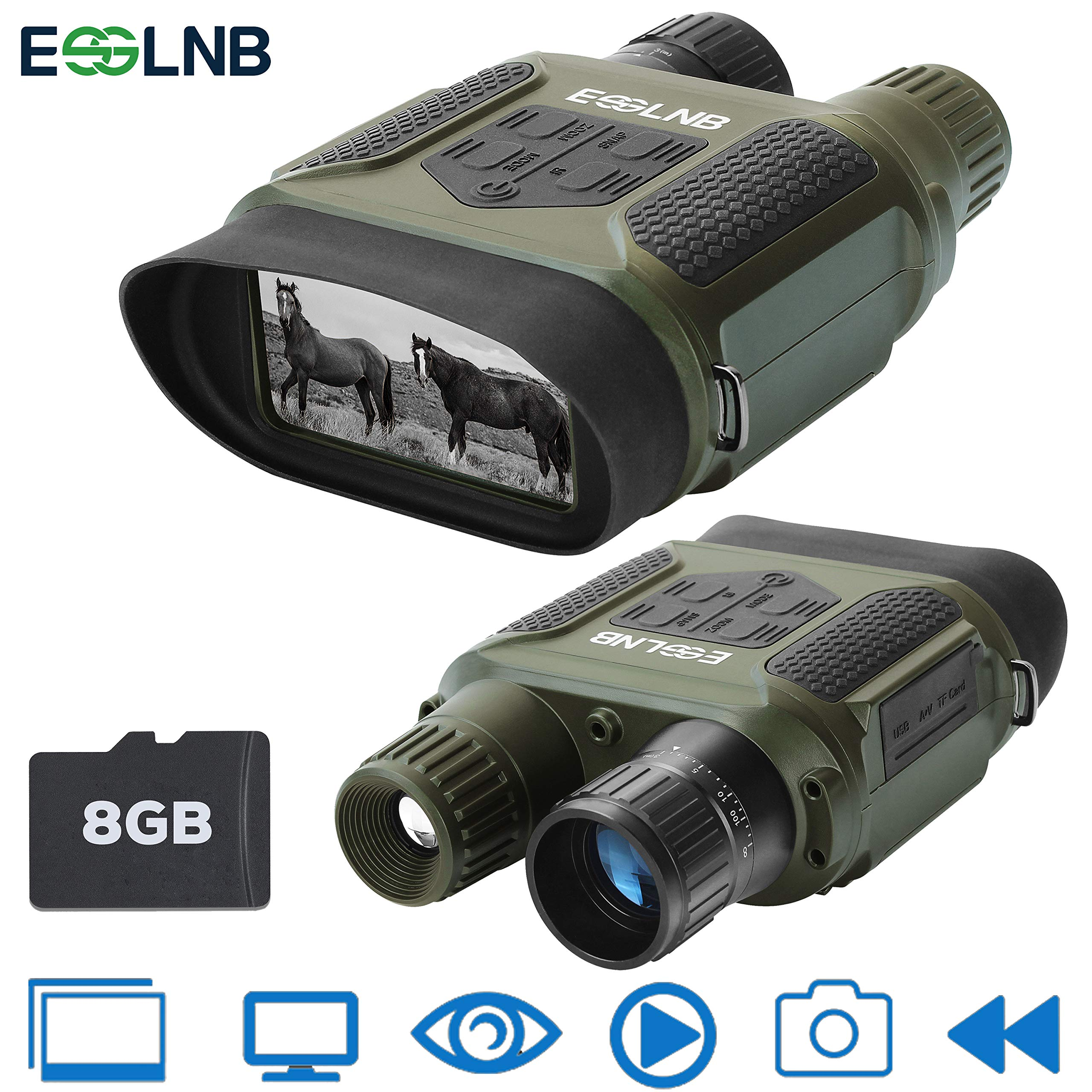 ESSLNB Night Vision Binoculars 1300ft Digital Night Vision Scope 7x31 Infrared Night Vision Hunting Binocular with 2'' TFT LCD and 8GB TF Card Photo Camera Video Recorder Playback Function