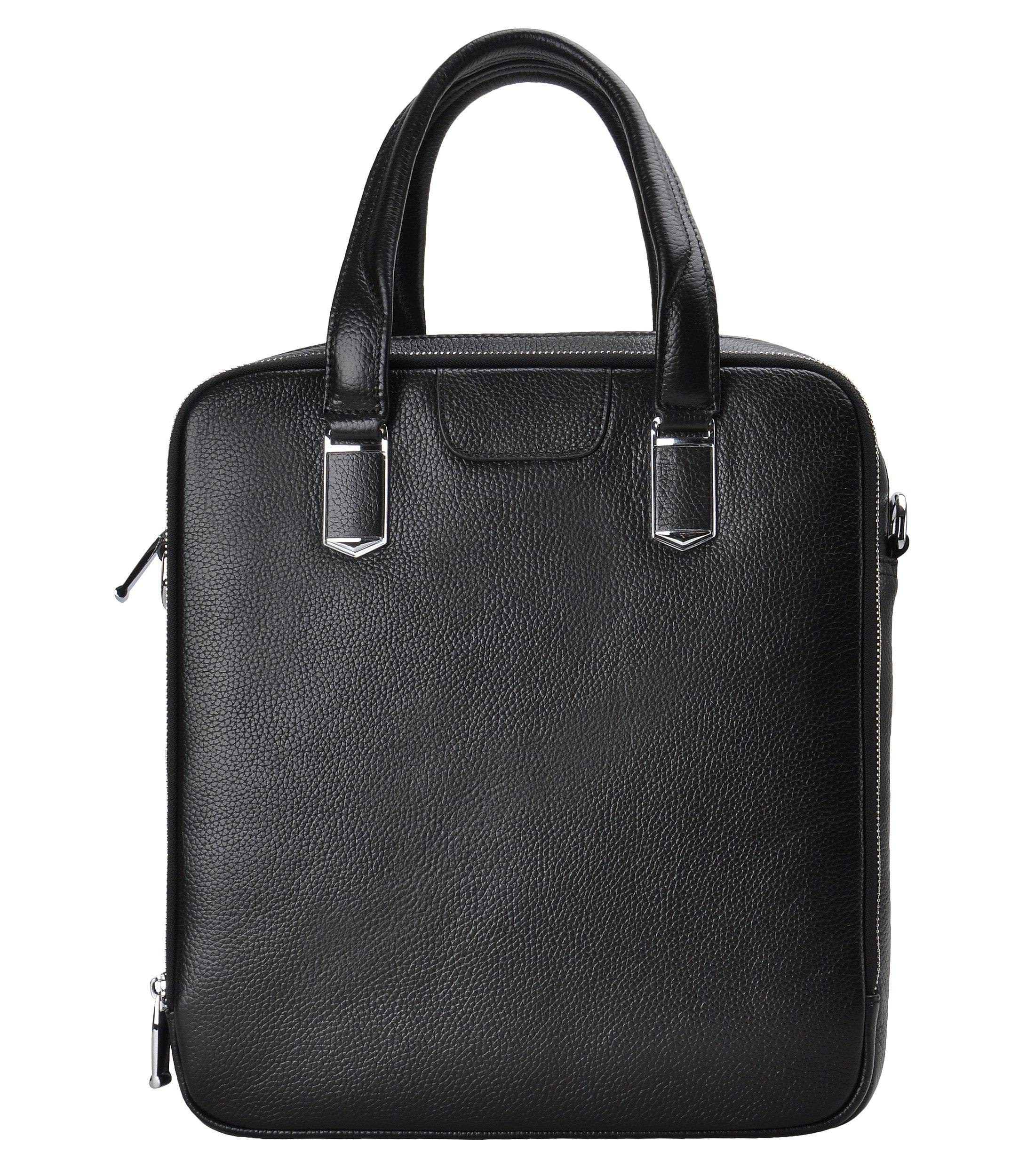 ZLYC Men Genuine Leather Messenger Bag Simple Shoulder Bag Casual Handbag, Small