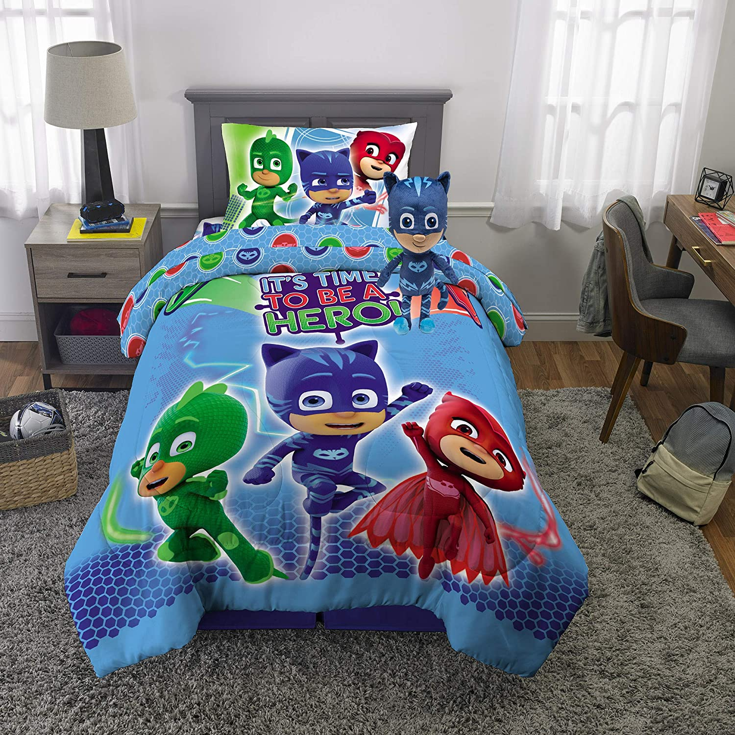 Franco Kids Bedding Super Soft Comforter with Sheets and Plush Cuddle Pillow Set, 5 Piece Twin Size, PJ Masks