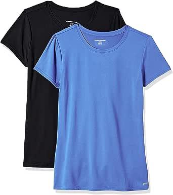 Amazon Essentials 2-Pack Tech Stretch Short-Sleeve Crewneck T-Shirt Mujer, Pack de 2