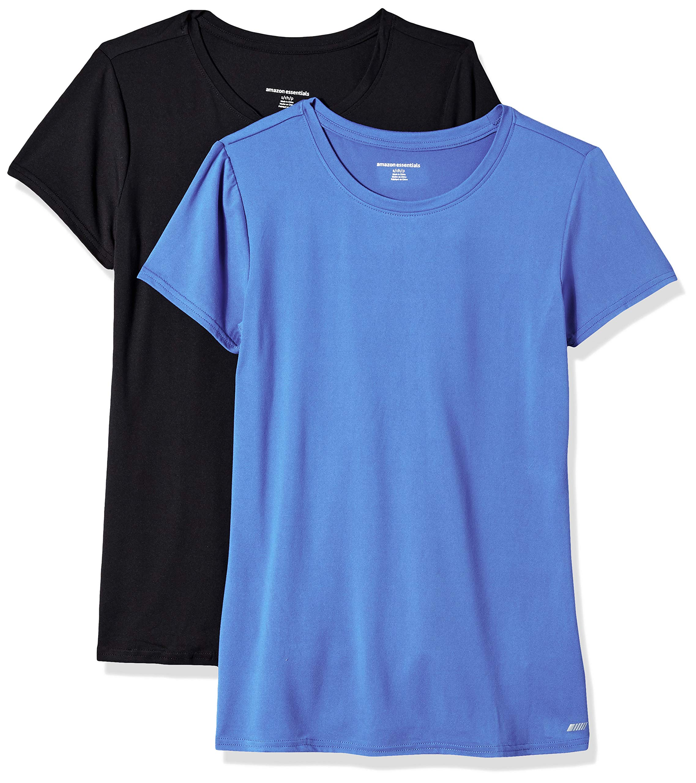 Amazon Essentials Women's 2-Pack Tech Stretch Short-Sleeve Crewneck T-Shirt, -bright blue/black, X-Small by Amazon Essentials (Image #1)