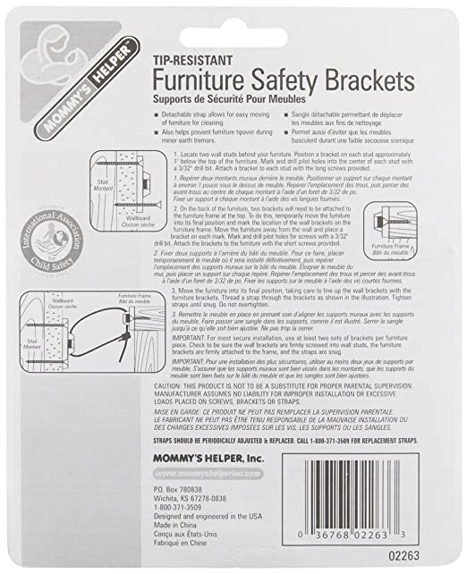 Amazon.com : Mommyu0027s Helper Tip Resistant Furniture Safety Brackets :  Furniture Corner Safety Bumpers : Baby