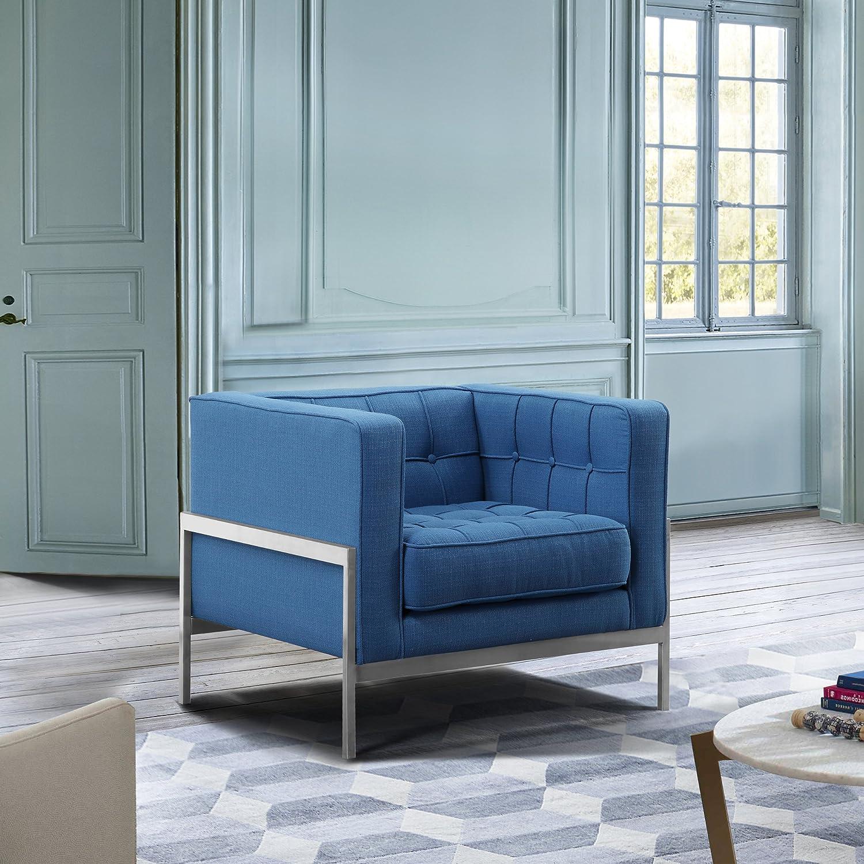 Amazon.com: Andre LCAN1BLUE Contemporary Sofa Chair Blue Fabric ...