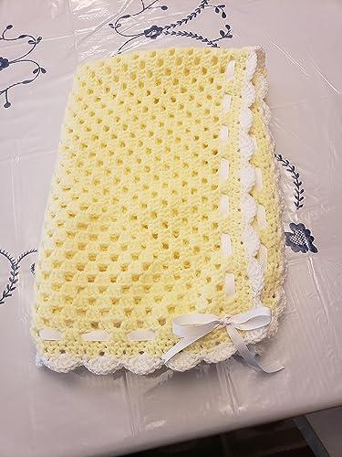Amazoncom Granny Square Baby Blanket Yellowwhite Handmade