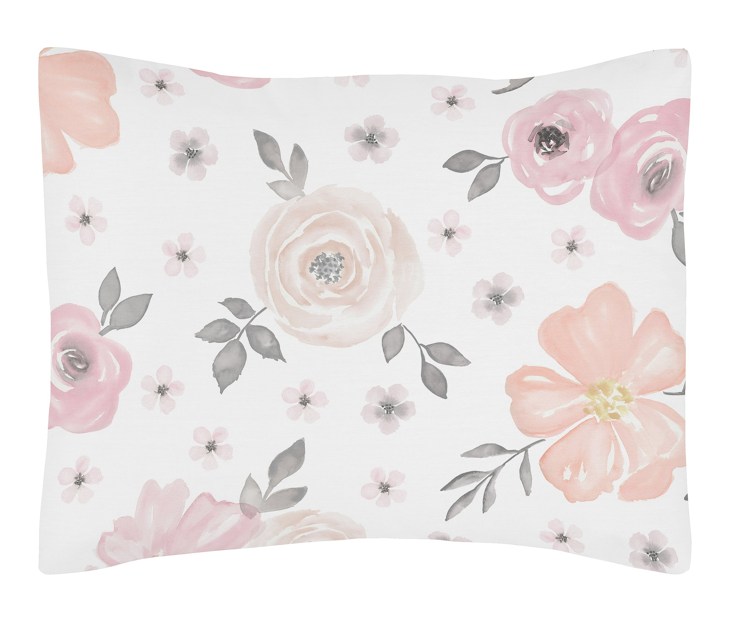 Sweet Jojo Designs Blush Pink, Grey and White Standard Pillow Sham for Watercolor Floral Collection by