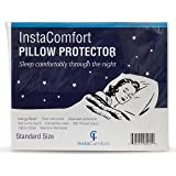 Allergy Pillow Covers - InstaComfort Super Soft 100% Cotton Cases Hypoallergenic Pillowcase – Completely Silent Dust Mite Proof Protector - Standard Size Zippered Cover Holiday Gift