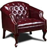 Boss Office Products Classic Traditional Button Tufted Club Chair in Oxblood