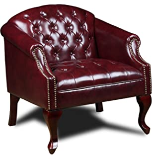 Boss Office Products BR99801 BY Classic Traditional Button Tufted Club Chair  In Oxblood