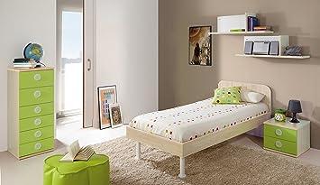 Jugendzimmer Komplett Farbe Ahorn Und Grün: Bett 90 X 190 Cm + Nachttisch +  Sifonier