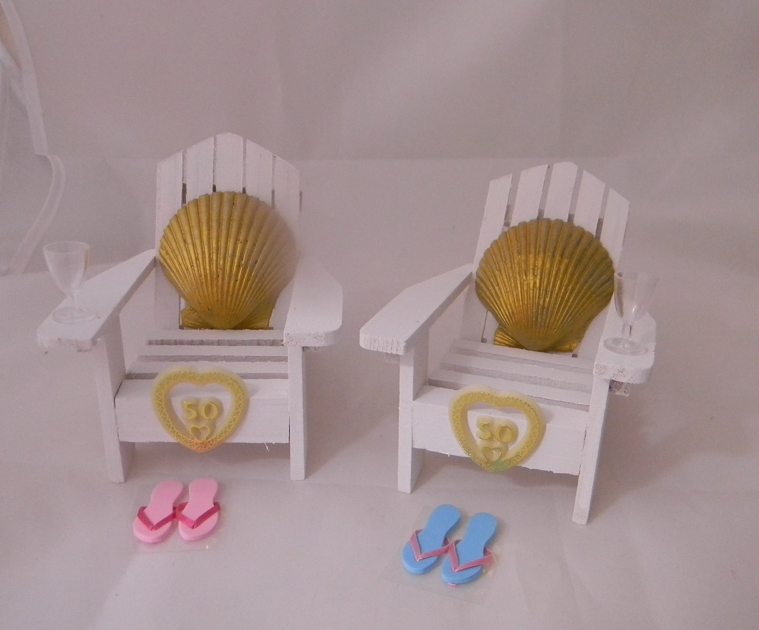 Wedding 50th Anniversary Adirondack Chairs Beach Gold Seashell Cake Topper by Design by Suzanne (Image #1)