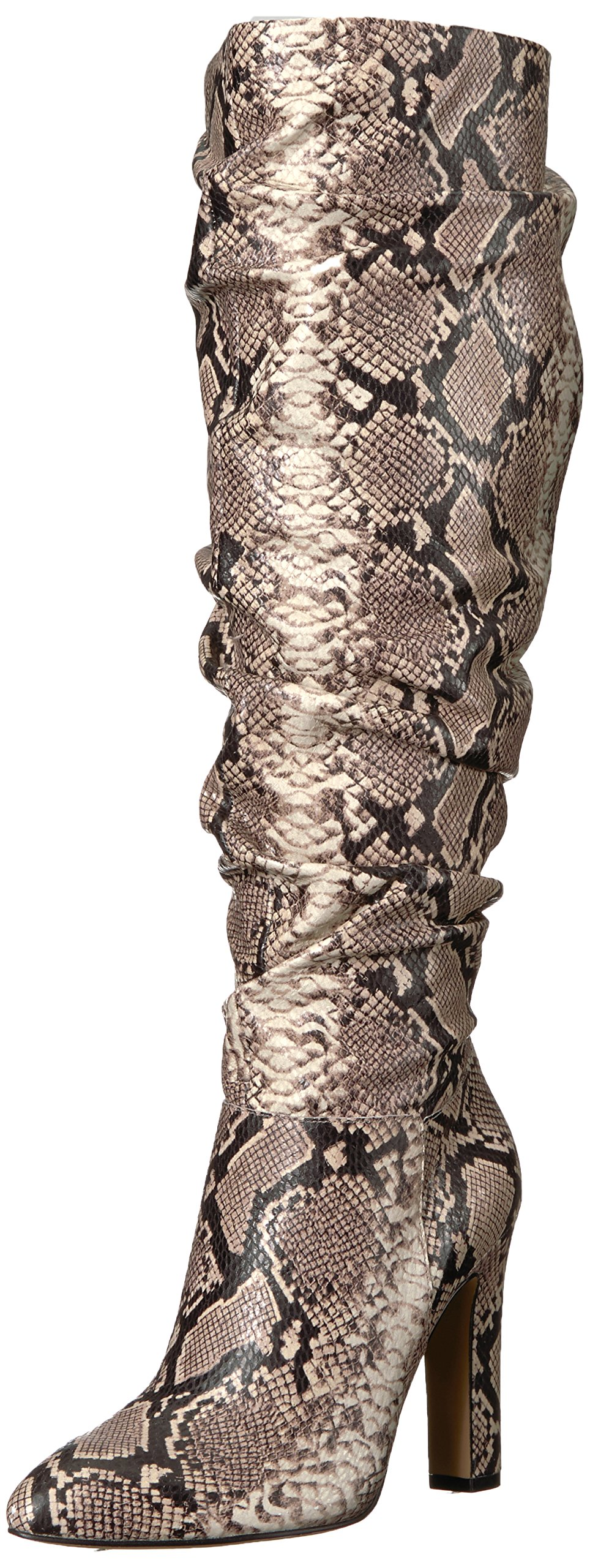 The Fix Women's Kennedi Pointed-Toe To-The-Knee Slouch Boot, Mushroom Python Print, 8.5 B US