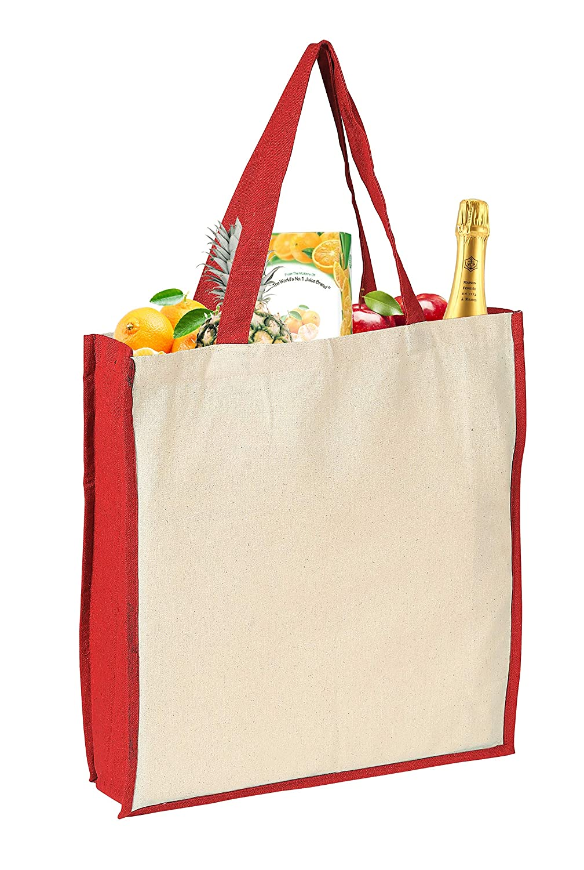 再利用可能な環境に優しい食料品バッグ XL コットン100% ショッピング ビーチ クロス トート 幅15インチ X 高さ16インチ X マチ4インチ トートショッピングバッグ 洗濯可能 食料品トートバッグ クラフトバッグ - レッドナチュラル - 6パック B07HHJQF4P