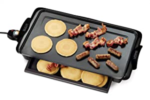 Nostalgia NGD200 Living Collection Extra-Large Non-stick Griddle with Cool Touch Handles and Warming Drawer