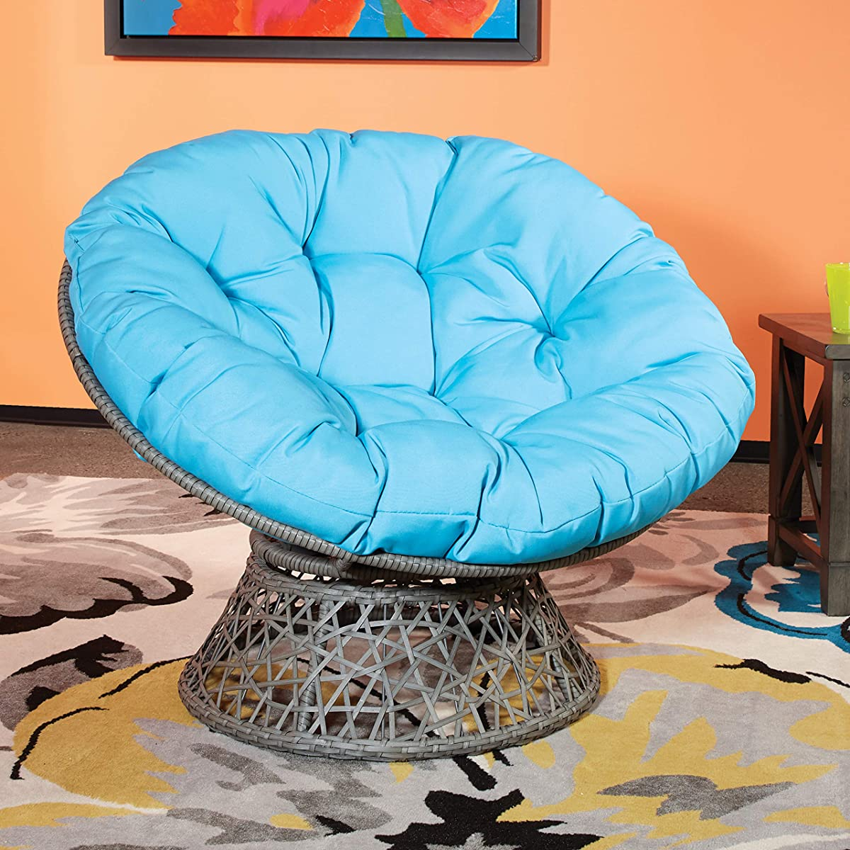 OSP DesignsPapasan Chair, Blue Cushion/Gray Frame