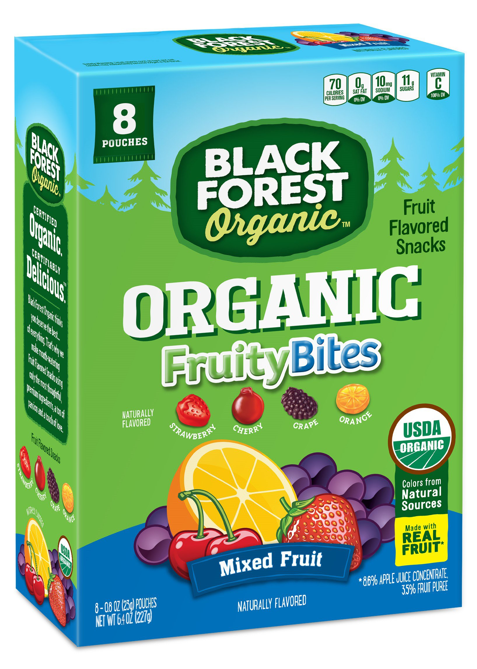 Black Forest Organic Fruity Bites Mixed Fruit Snacks, 0.8 Ounce Bag, 8 Count
