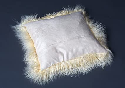 Funda para cojín Tíbet piel de cordero 30x30cm ¡Una amplia gama de colores! JAY08 color beis amarillo