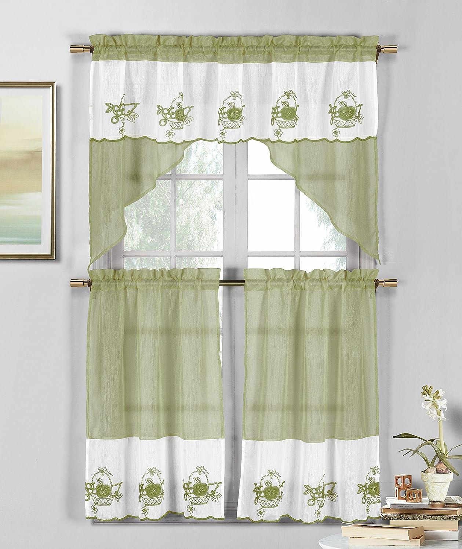 Duck River Textile Jade Apple, PEAR & Grape Fruit Kitchen 3 Piece Window Curtain Tier & Valance Set, 2 30 x 36 & One 60 x 36, White-Sage