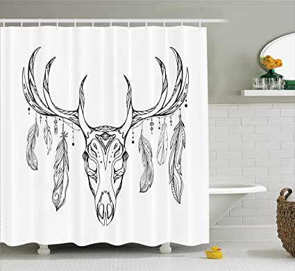 Ambesonne Antlers Shower Curtain Illustration Of A Deer Skull With And Feathers Boho Pattern