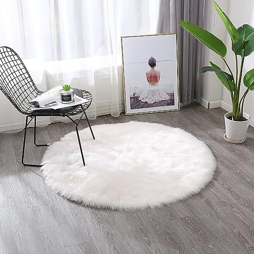 Amazon.com: Townssilk White Faux Sheepskin Fur Fluffy Area ...