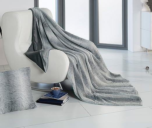 Brandsseller Kaninchenfell-Optik Decke Felldecke Kuscheldecke Fellimitat - Roger - ca. 150x200cm - Grau