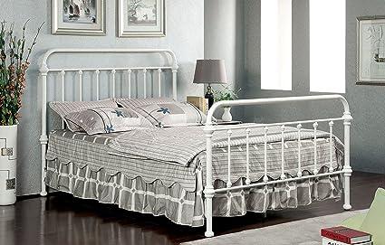 6d5cc51e844e5 Amazon.com  Furniture of America IDF-7701WH-EK Overtown Metal Bed ...