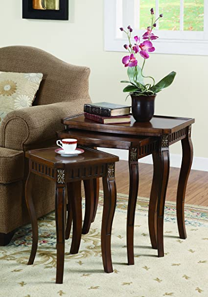 Coaster Traditional Warm Brown 3-Piece Curved Leg Nesting Table Set & Amazon.com: Coaster Traditional Warm Brown 3-Piece Curved Leg ...