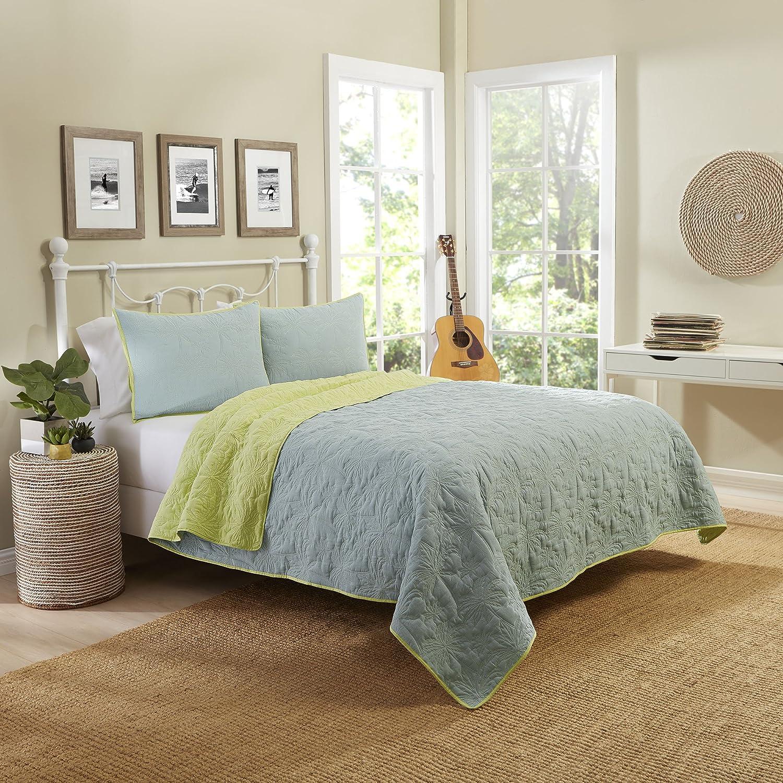 Aqua Ellery Homestyles Vue 15973BEDDTWNAQU Zuma Beach 68-Inch by 86-Inch Reversible 2-Piece Twin Quilt Set