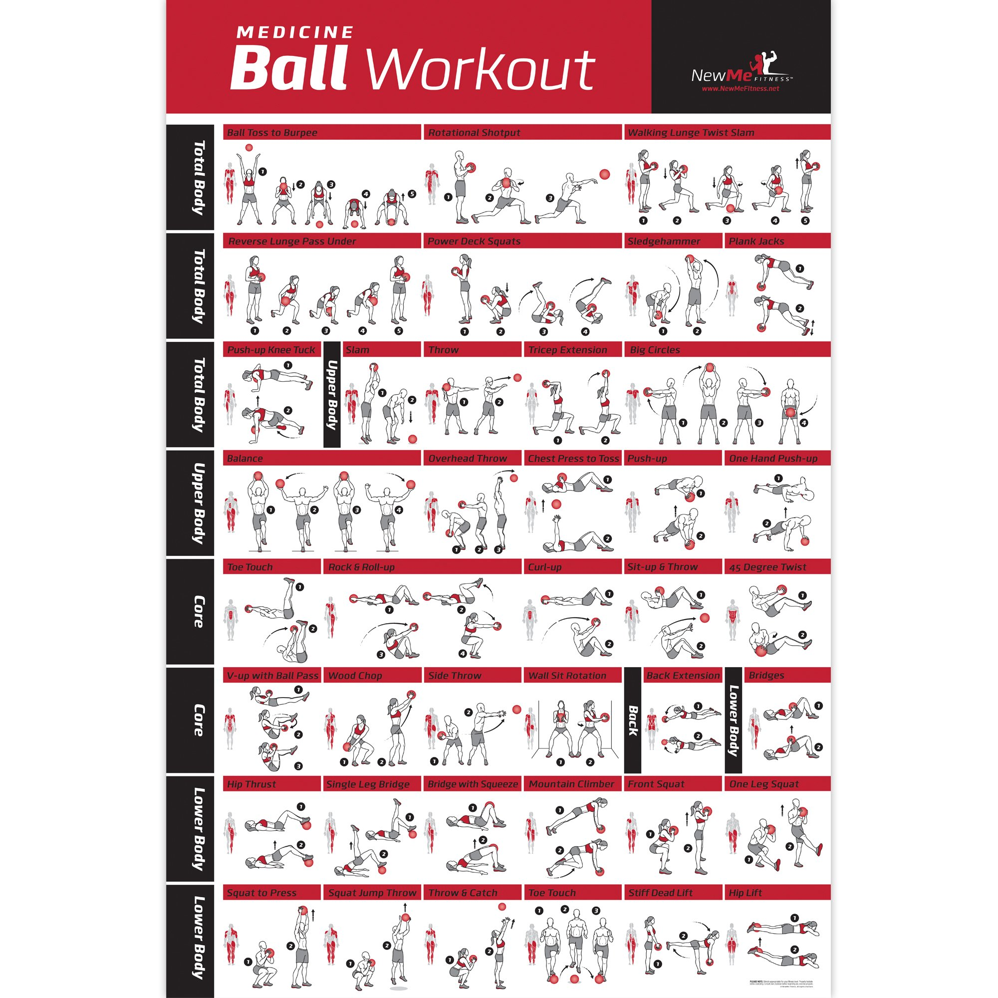 NewMe Fitness Medicine Ball Workout Poster – Laminated :: Illustrated Guide with 40 Body Sculpting & Strengthening…