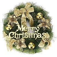 Guirlanda de Natal, decoração de Natal, guirlanda de Natal, restaurante para casa de hotel casamento (40 cm dourado)