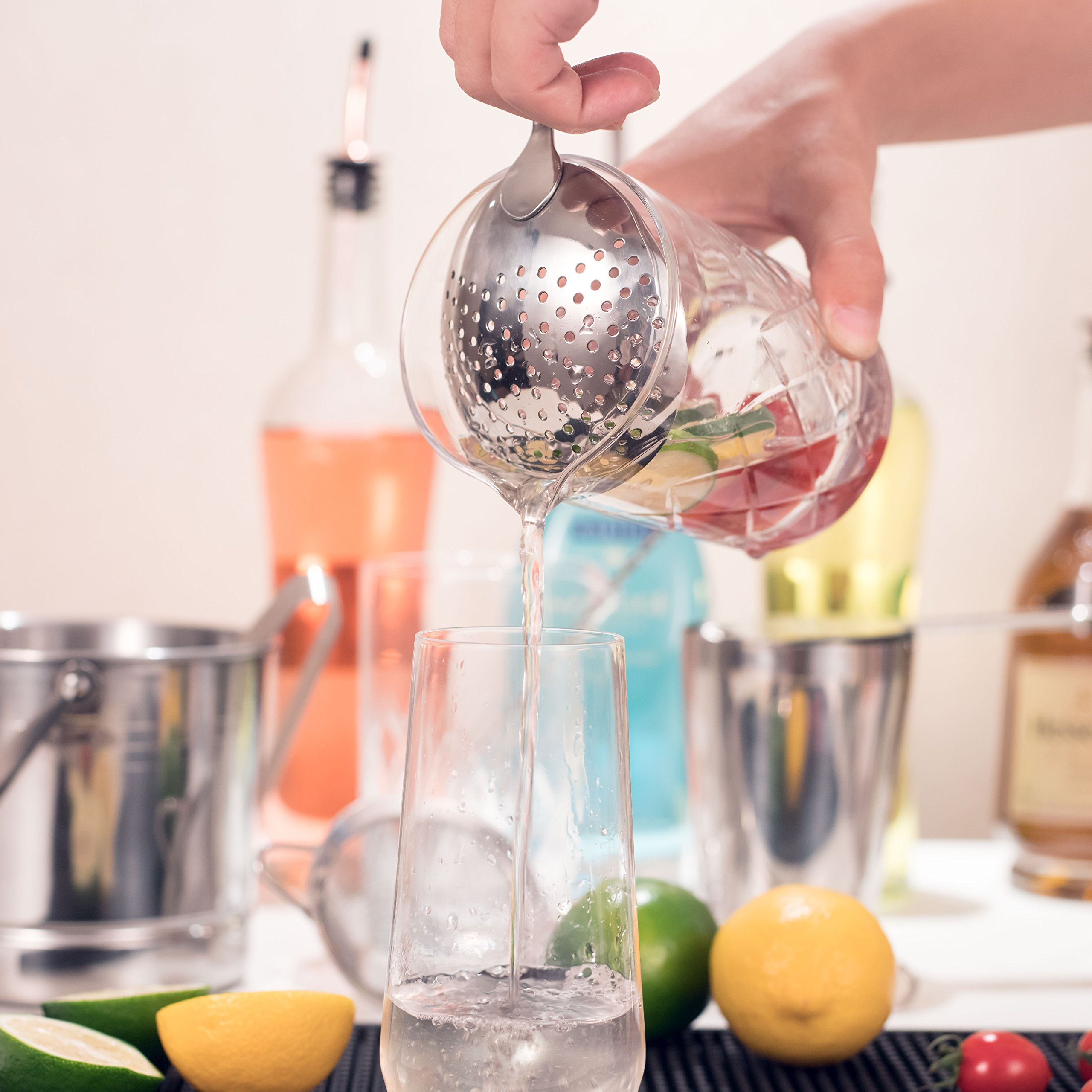 Cocktail Strainer Set for Professional Bartenders and Mixologists – Stainless Steel Hawthorne Strainer, Julep Strainer and Fine Mesh Conical Strainer by ALOONO (Image #5)