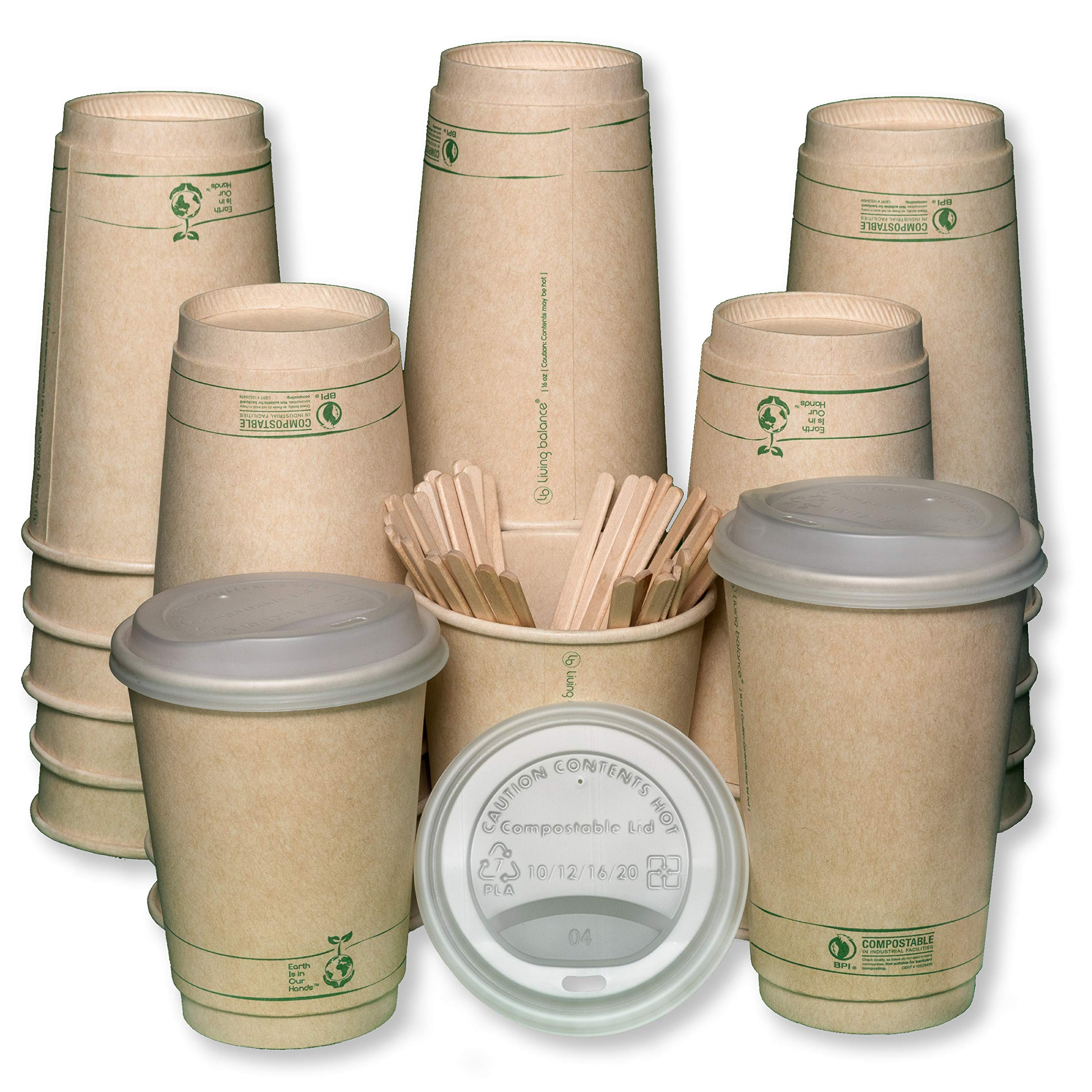 Compostable Disposable Coffee Cups To Go with Lids, Wooden Stirrers, and Integrated Sleeves   [75 Pack - 16 Ounce] - BPI Certified BIOCUPS: PLA, Eco Friendly, Biodegradable, Cups - Living Balance