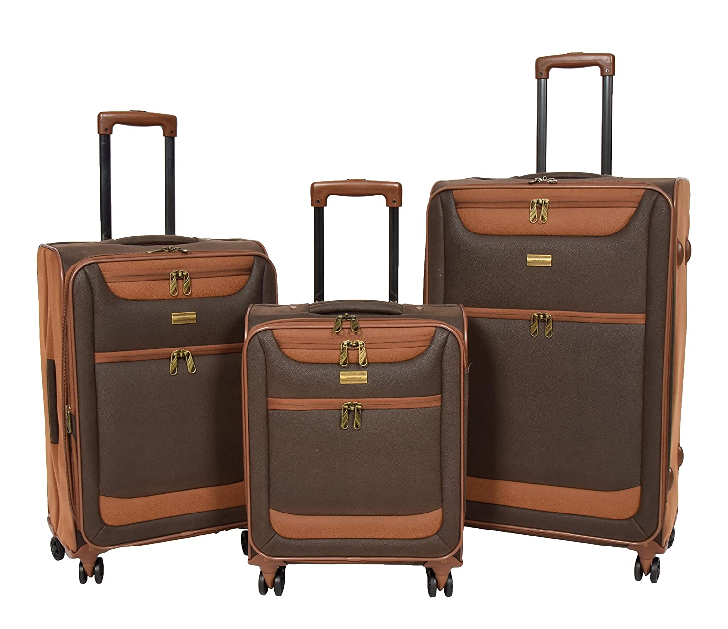 4 Wheel Luggage Set Soft Faux Suede Brown 3 Sizes Cabin/Medium/Large Suitcases Travel Bag - Earth (Brown)