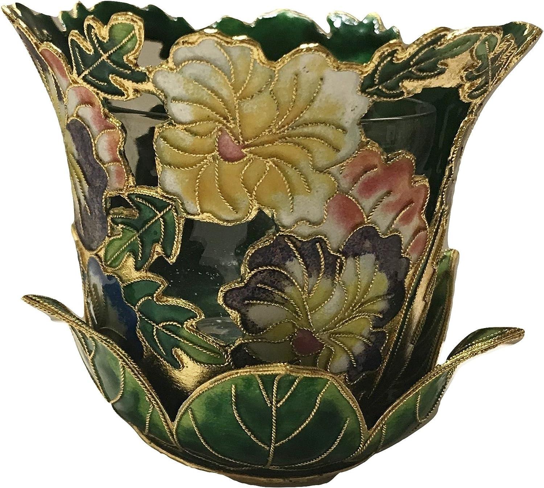 Amazon.com: Portavelas cloisonné Patrón de Diseño de flores ...