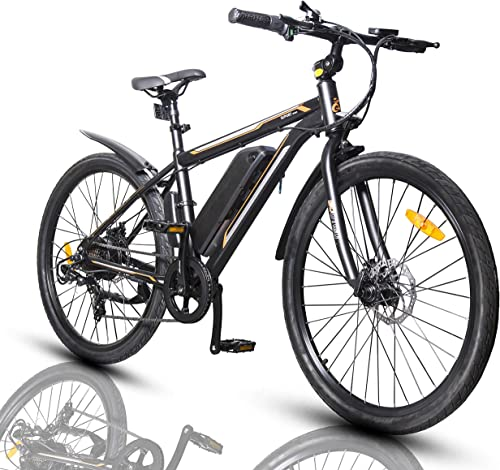 ECOTRIC 26 Electric City Bicycle Ebike with 350W Brushless Rear Motor, 36V 9AH Removable Lithium Battery, Throttle Pedal Assist, Disc Brake System