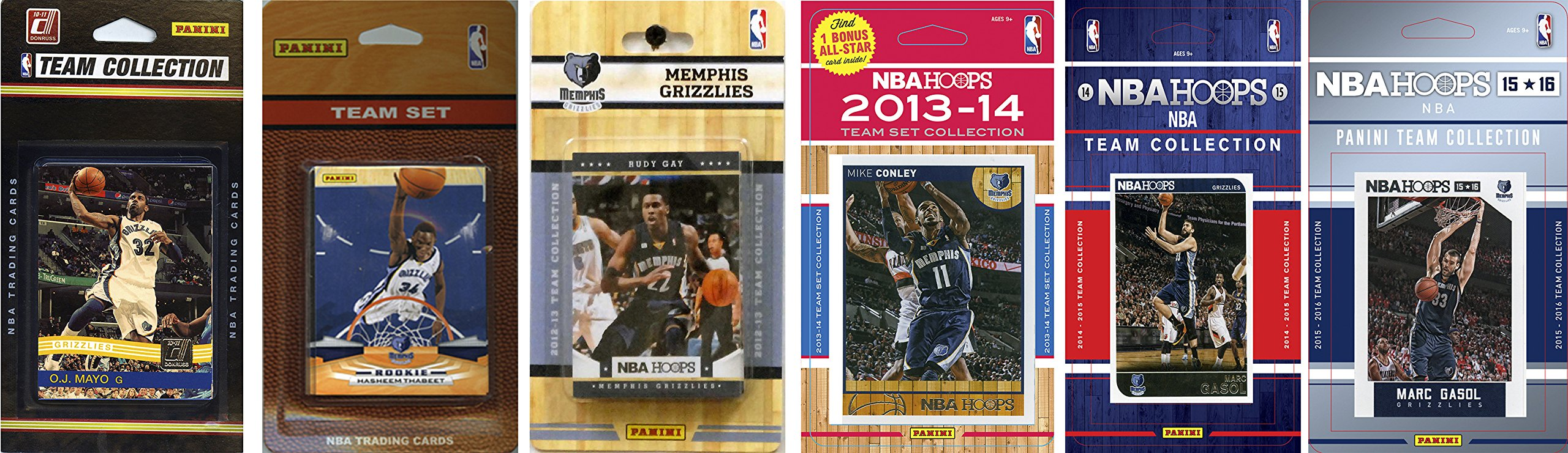 NBA Memphis Grizzlies 6 Different Licensed Team Set Trading Card